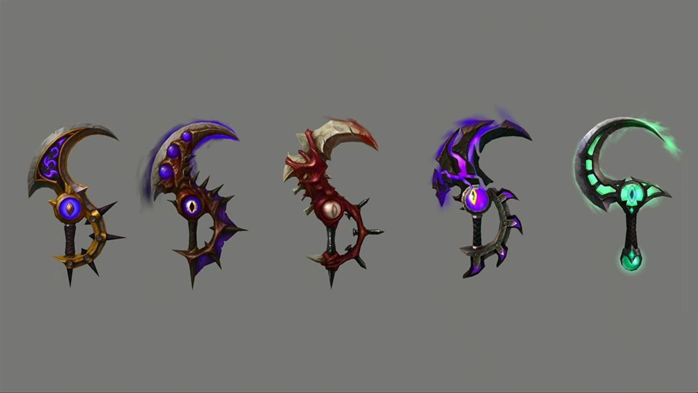 Xal'atath, a Lâmina do Império Negro e algumas de suas skins.