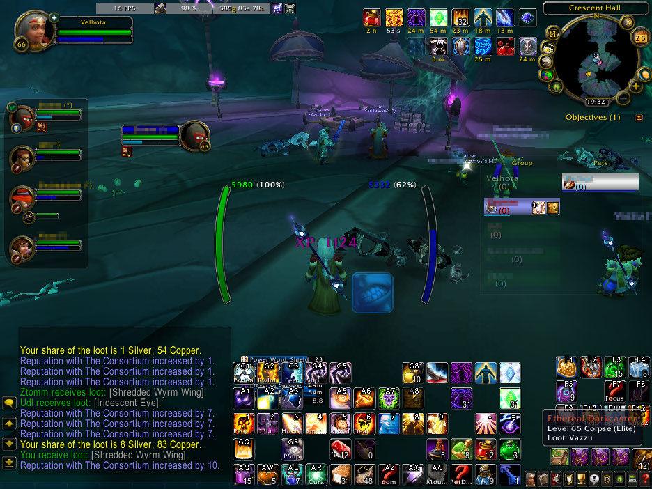Fazendo Mana-Tombs como healer. Note que nessa época eu usava o Healbot como addon de heal.