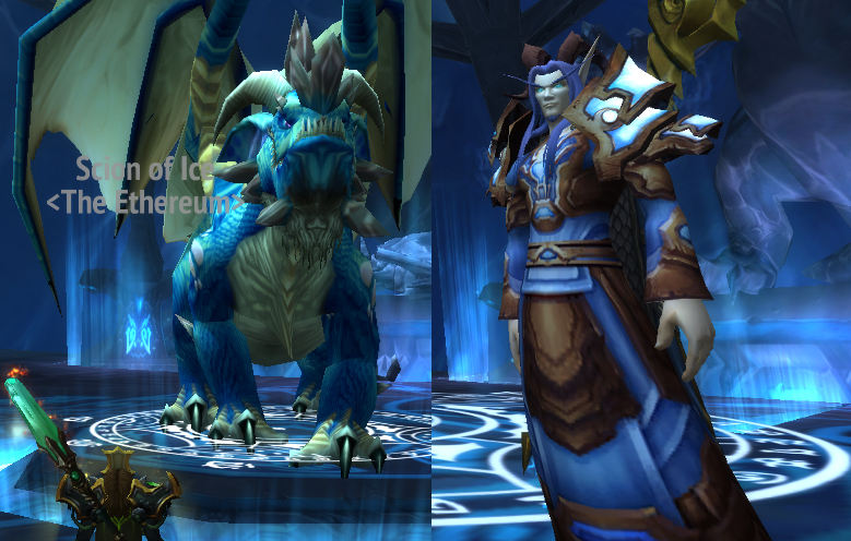 Azuregos em suas duas formas, de dragão e de humanóide (elfo).