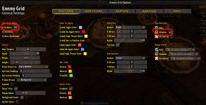 Opções do Enemy Grid