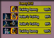 Addon Enemy Grid, mostrando os dots de shadow priest